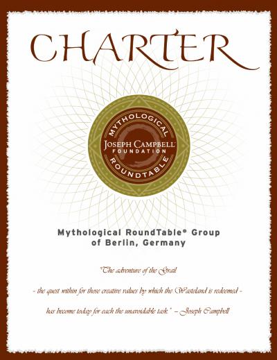 """Charterurkunde der Joseph-Campbell-Foundation für unsere """"Tafelrunde"""""""